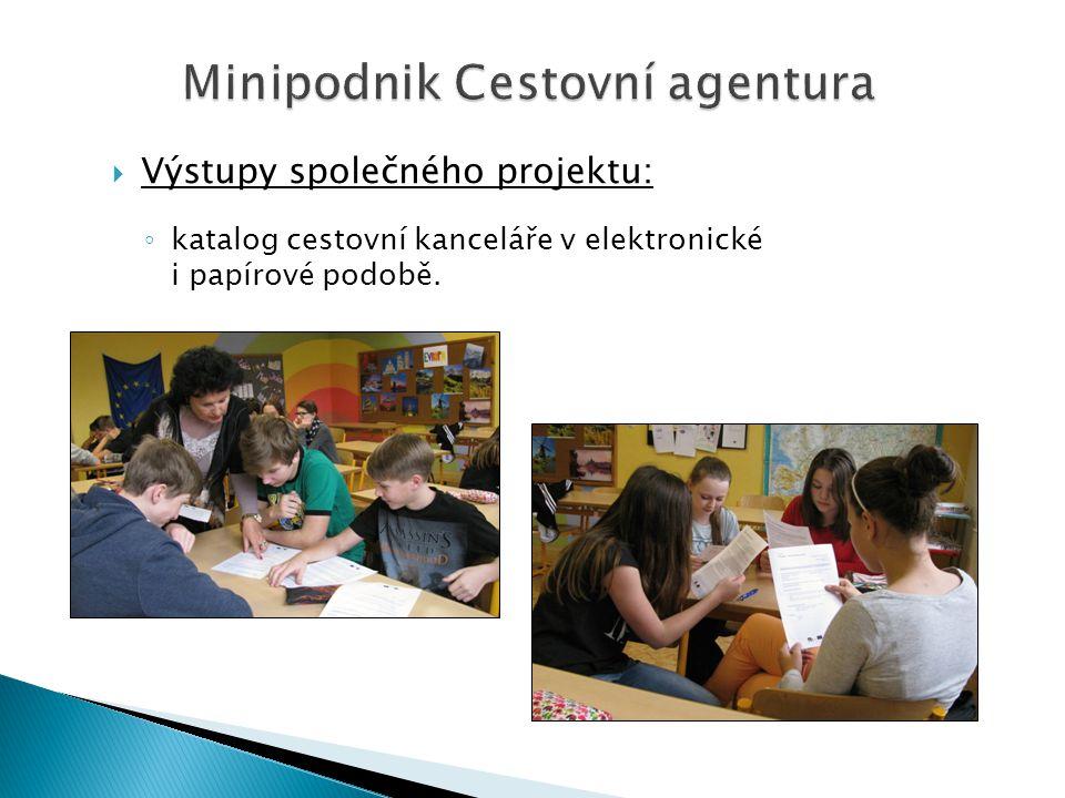 Minipodnik Cestovní agentura  Výstupy společného projektu: ◦ katalog cestovní kanceláře v elektronické i papírové podobě.