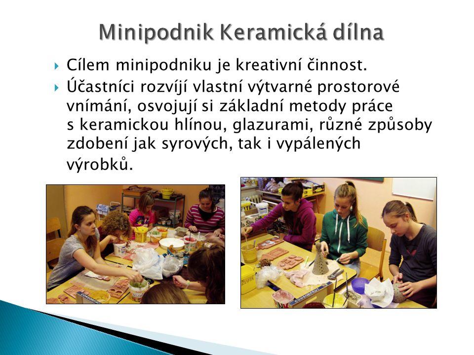 Minipodnik Keramická dílna  Cílem minipodniku je kreativní činnost.  Účastníci rozvíjí vlastní výtvarné prostorové vnímání, osvojují si základní met
