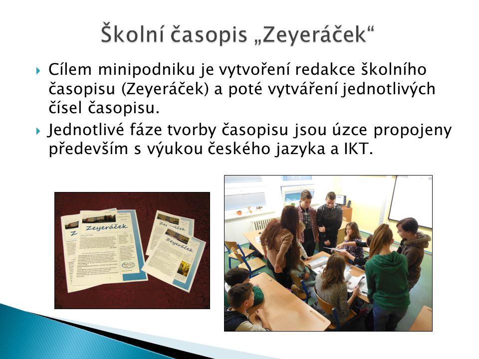 """Školní časopis """"Zeyeráček  Cílem minipodniku je vytvoření redakce školního časopisu (Zeyeráček) a poté vytváření jednotlivých čísel časopisu."""
