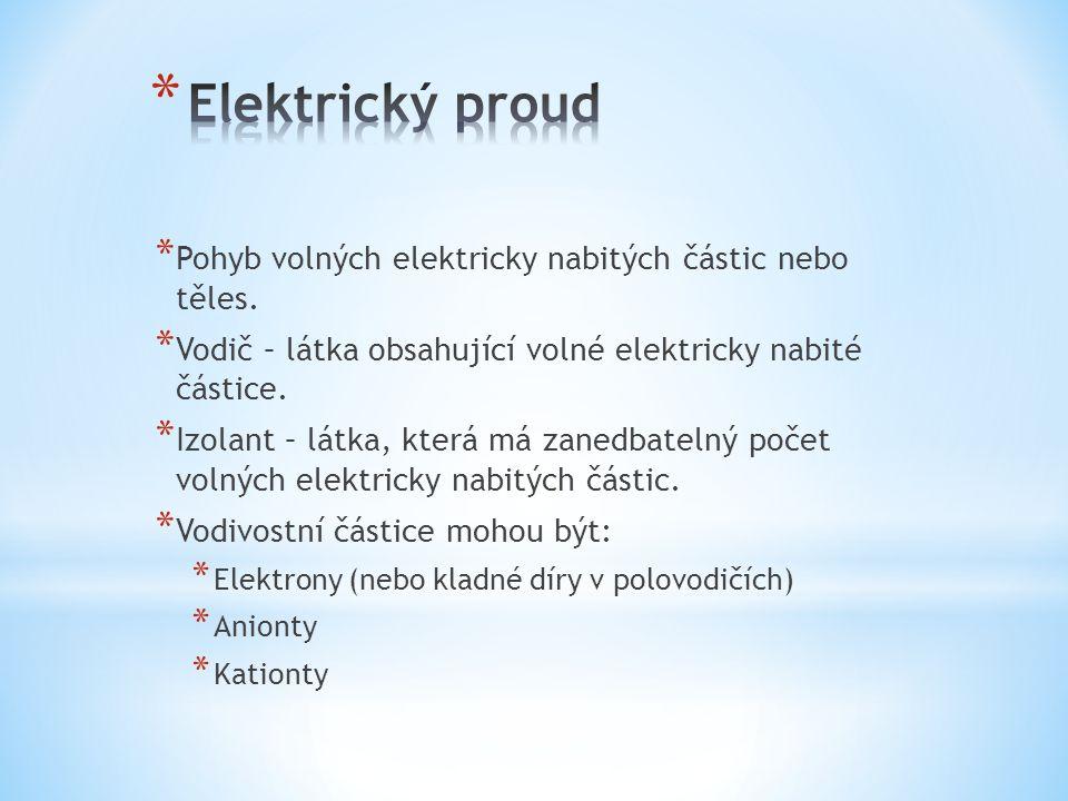 * Pohyb volných elektricky nabitých částic nebo těles. * Vodič – látka obsahující volné elektricky nabité částice. * Izolant – látka, která má zanedba