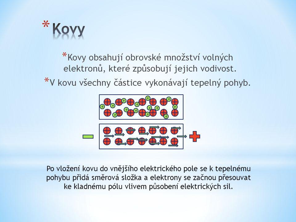* Kovy obsahují obrovské množství volných elektronů, které způsobují jejich vodivost. * V kovu všechny částice vykonávají tepelný pohyb. e e e e e e e
