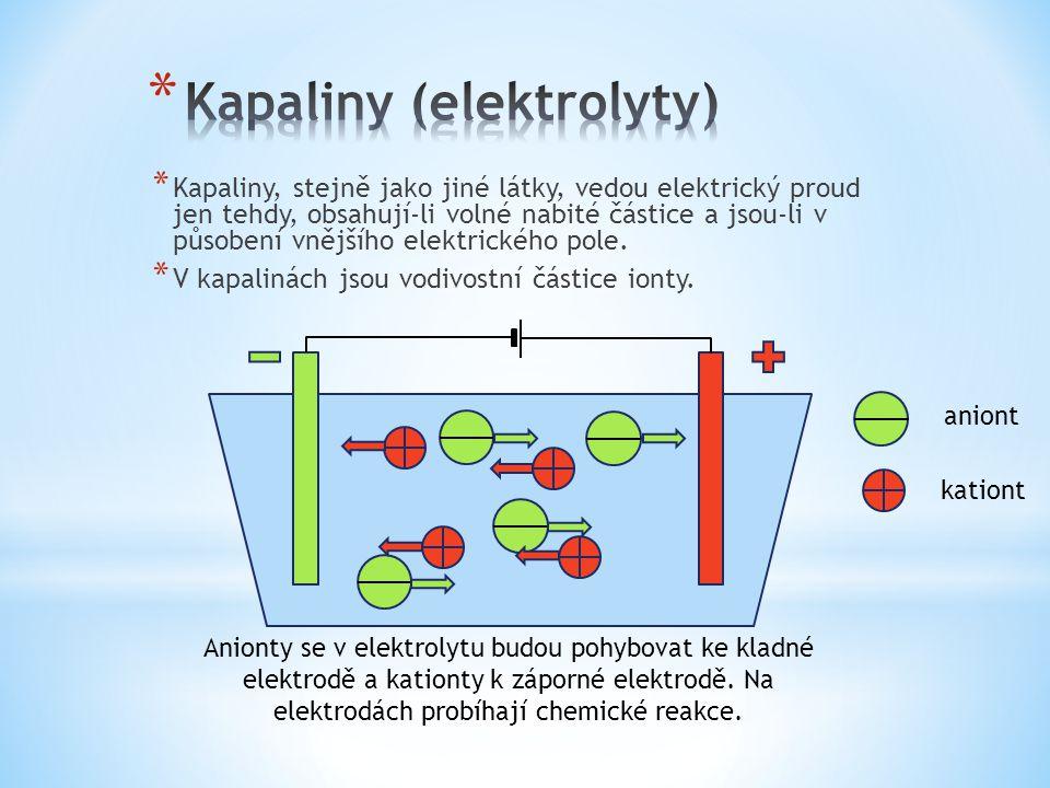 * Kapaliny, stejně jako jiné látky, vedou elektrický proud jen tehdy, obsahují-li volné nabité částice a jsou-li v působení vnějšího elektrického pole