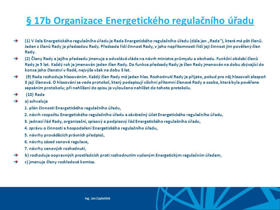 Ing. Jan Zaplatílek § 17b Organizace Energetického regulačního úřadu (1) V čele Energetického regulačního úřadu je Rada Energetického regulačního úřad