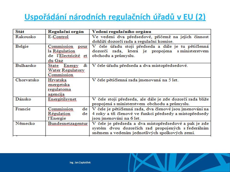 Ing. Jan Zaplatílek Uspořádání národních regulačních úřadů v EU (2)