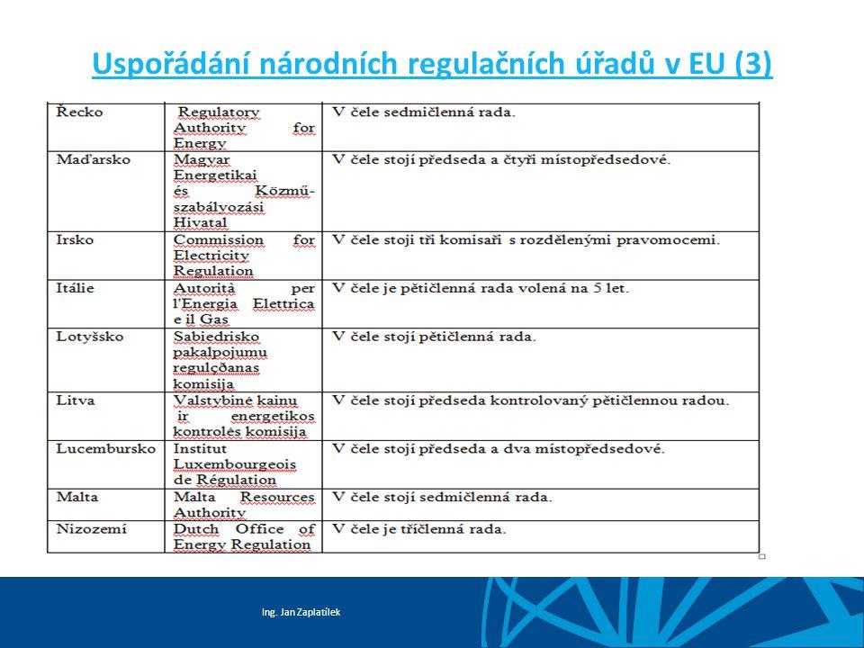Ing. Jan Zaplatílek Uspořádání národních regulačních úřadů v EU (3)
