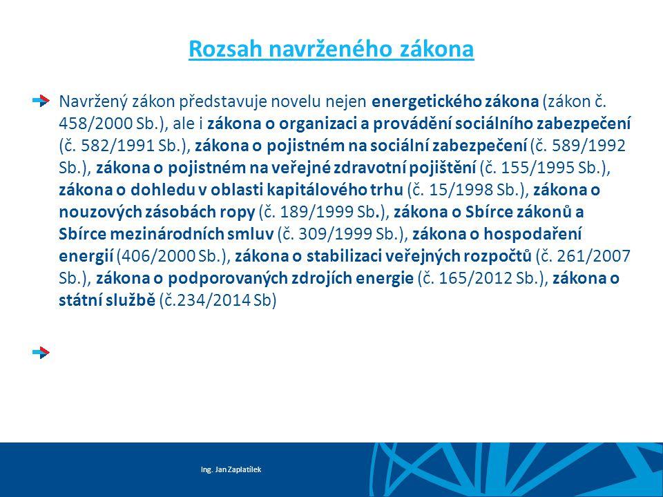 Ing. Jan Zaplatílek Rozsah navrženého zákona Navržený zákon představuje novelu nejen energetického zákona (zákon č. 458/2000 Sb.), ale i zákona o orga