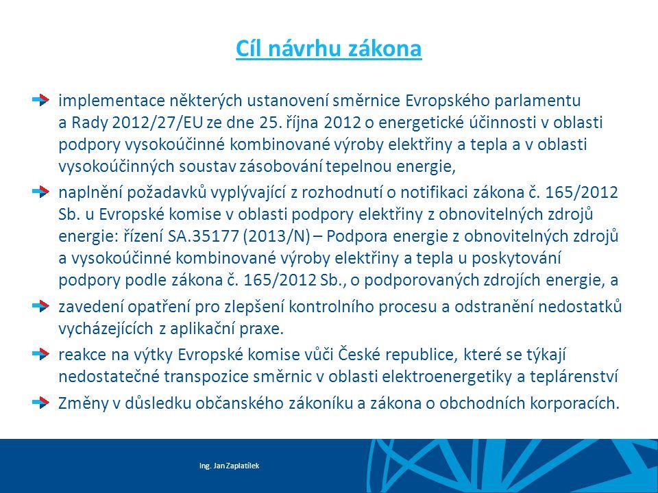 Ing. Jan Zaplatílek Cíl návrhu zákona implementace některých ustanovení směrnice Evropského parlamentu a Rady 2012/27/EU ze dne 25. října 2012 o energ