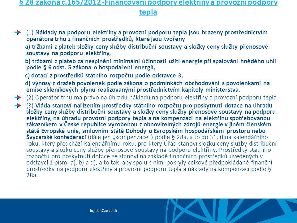 Ing. Jan Zaplatílek § 28 zákona č.165/2012 -Financování podpory elektřiny a provozní podpory tepla (1) Náklady na podporu elektřiny a provozní podporu