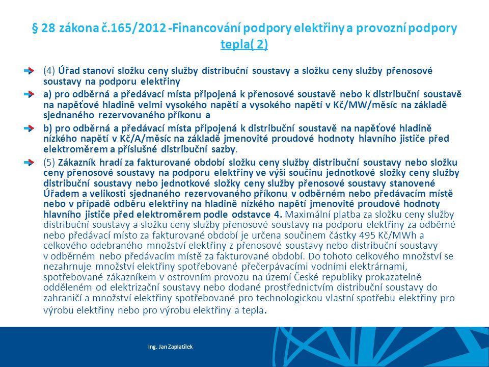 Ing. Jan Zaplatílek § 28 zákona č.165/2012 -Financování podpory elektřiny a provozní podpory tepla( 2) (4) Úřad stanoví složku ceny služby distribuční