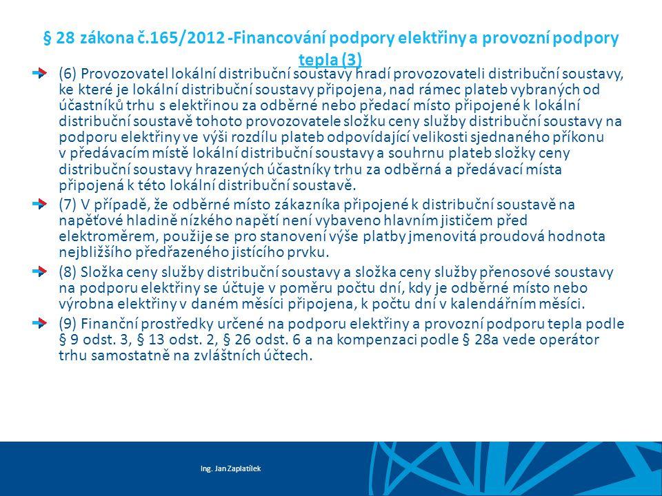 Ing. Jan Zaplatílek § 28 zákona č.165/2012 -Financování podpory elektřiny a provozní podpory tepla (3) (6) Provozovatel lokální distribuční soustavy h