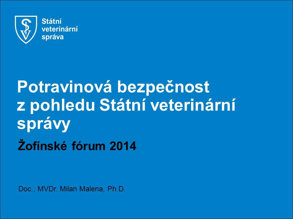 Potravinová bezpečnost z pohledu Státní veterinární správy Žofínské fórum 2014 Doc., MVDr.