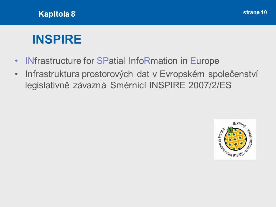 strana 19 INSPIRE INfrastructure for SPatial InfoRmation in Europe Infrastruktura prostorových dat v Evropském společenství legislativně závazná Směrnicí INSPIRE 2007/2/ES Kapitola 8