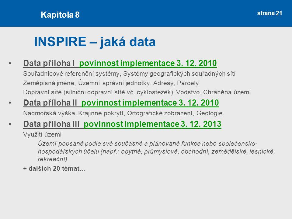 strana 21 INSPIRE – jaká data Data příloha I povinnost implementace 3.