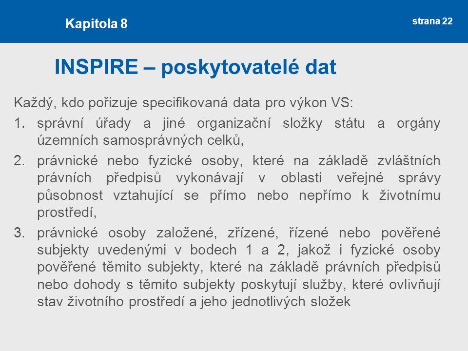 strana 22 INSPIRE – poskytovatelé dat Každý, kdo pořizuje specifikovaná data pro výkon VS: 1.správní úřady a jiné organizační složky státu a orgány úz