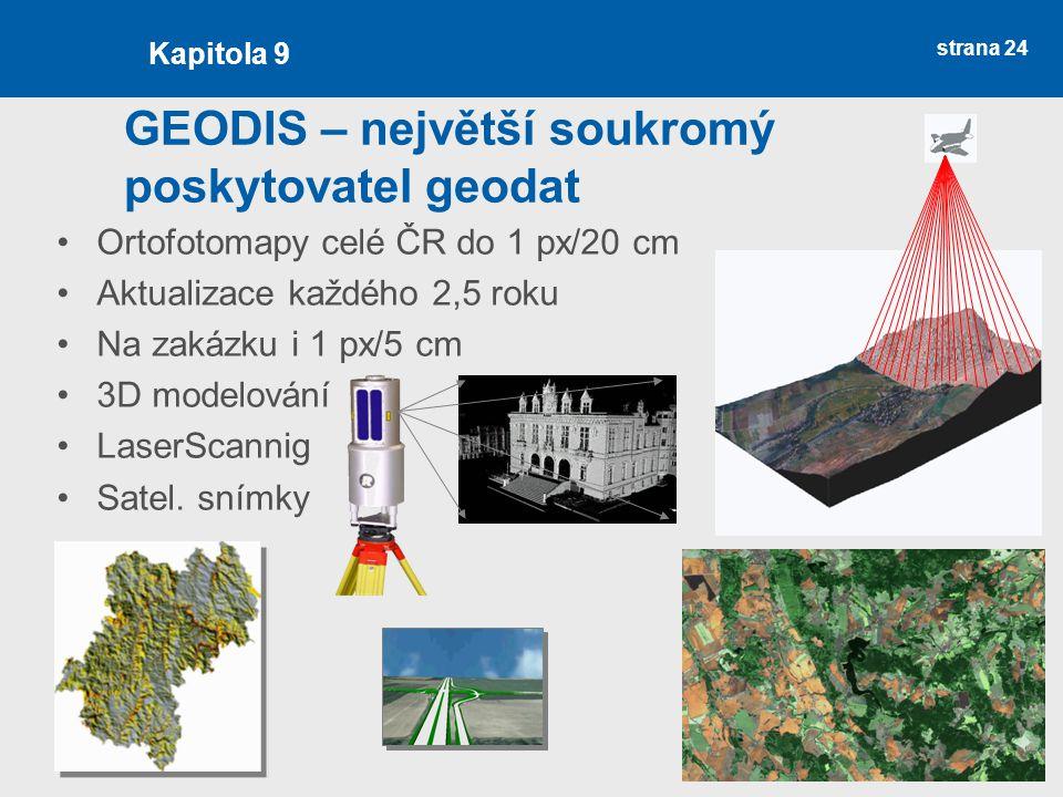 strana 24 GEODIS – největší soukromý poskytovatel geodat Ortofotomapy celé ČR do 1 px/20 cm Aktualizace každého 2,5 roku Na zakázku i 1 px/5 cm 3D modelování LaserScannig Satel.