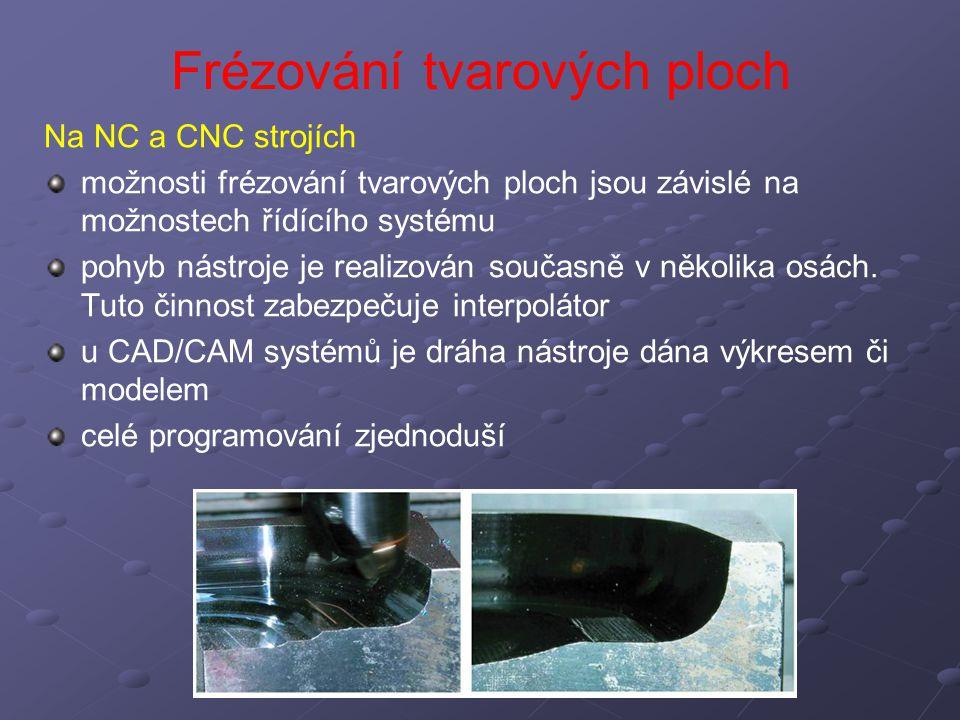 Frézování tvarových ploch Na NC a CNC strojích možnosti frézování tvarových ploch jsou závislé na možnostech řídícího systému pohyb nástroje je realiz