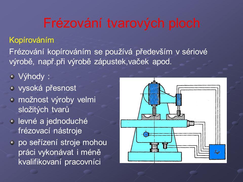 Frézování tvarových ploch Kopírováním Frézování kopírováním se používá především v sériové výrobě, např.při výrobě zápustek,vaček apod. Výhody : vysok