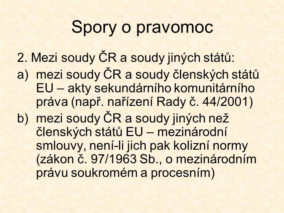 Spory o pravomoc 2. Mezi soudy ČR a soudy jiných států: a)mezi soudy ČR a soudy členských států EU – akty sekundárního komunitárního práva (např. naří