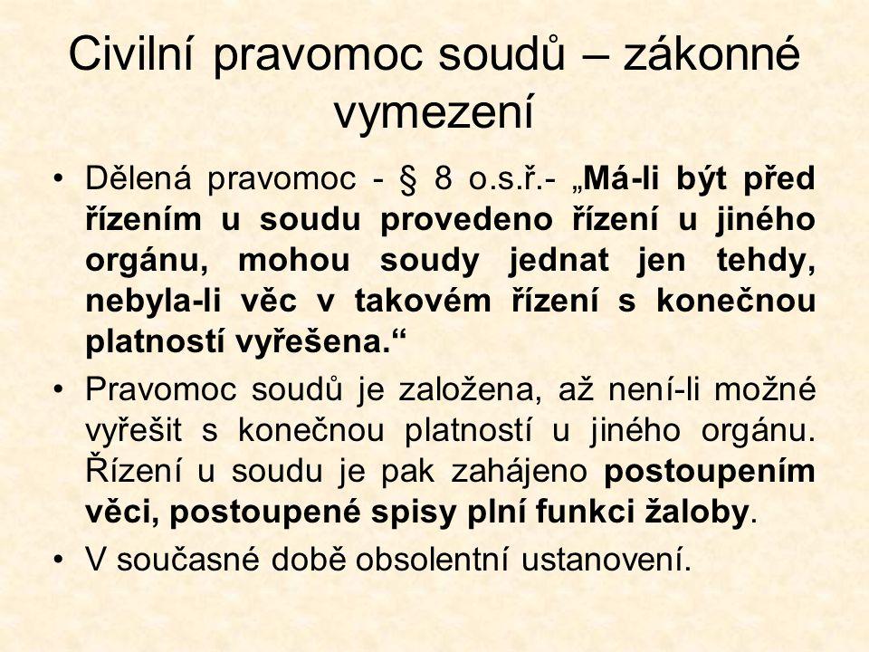 Spory o pravomoc – kompetenční spory Spory o pravomoc mohou nastat mezi soudy a jinými orgány a mezi soudy ČR a jiného státu.