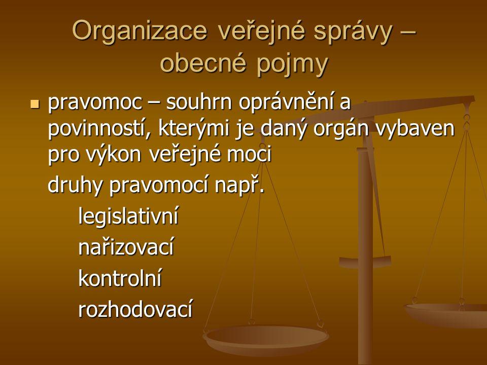 Organizace veřejné správy – obecné pojmy pravomoc – souhrn oprávnění a povinností, kterými je daný orgán vybaven pro výkon veřejné moci pravomoc – sou