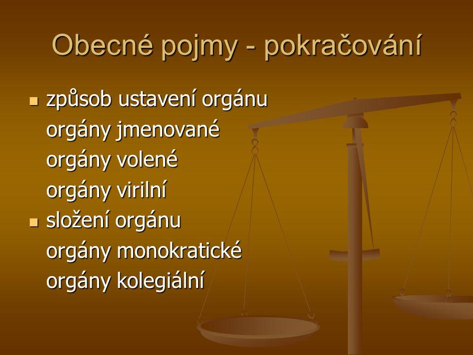 Obecné pojmy - pokračování způsob ustavení orgánu způsob ustavení orgánu orgány jmenované orgány volené orgány virilní složení orgánu složení orgánu o
