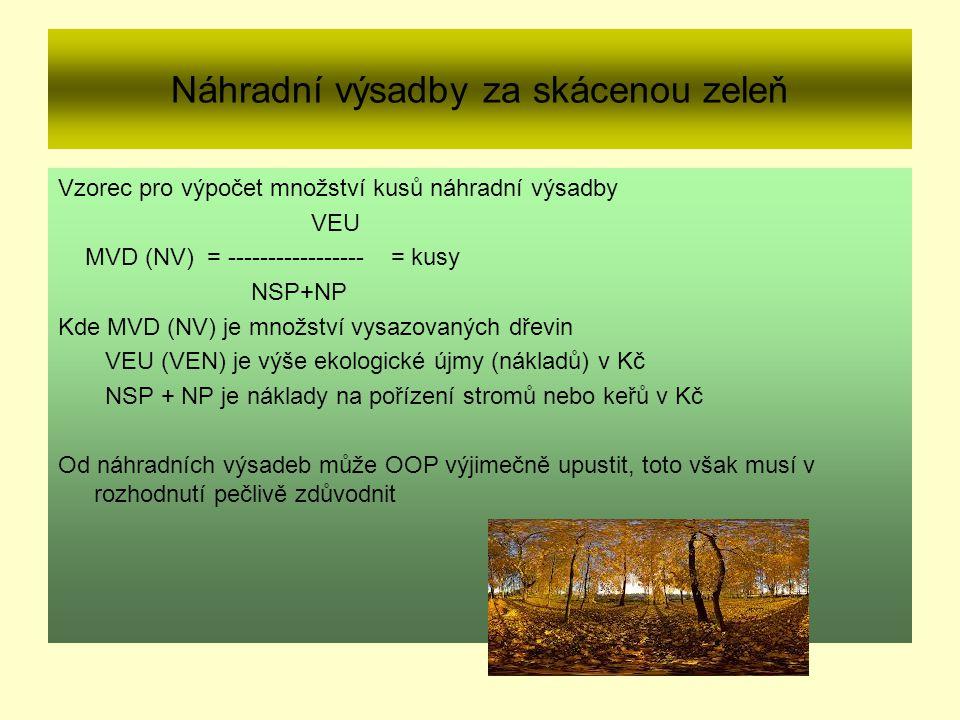 Náhradní výsadby za skácenou zeleň Vzorec pro výpočet množství kusů náhradní výsadby VEU MVD (NV) = ----------------- = kusy NSP+NP Kde MVD (NV) je množství vysazovaných dřevin VEU (VEN) je výše ekologické újmy (nákladů) v Kč NSP + NP je náklady na pořízení stromů nebo keřů v Kč Od náhradních výsadeb může OOP výjimečně upustit, toto však musí v rozhodnutí pečlivě zdůvodnit
