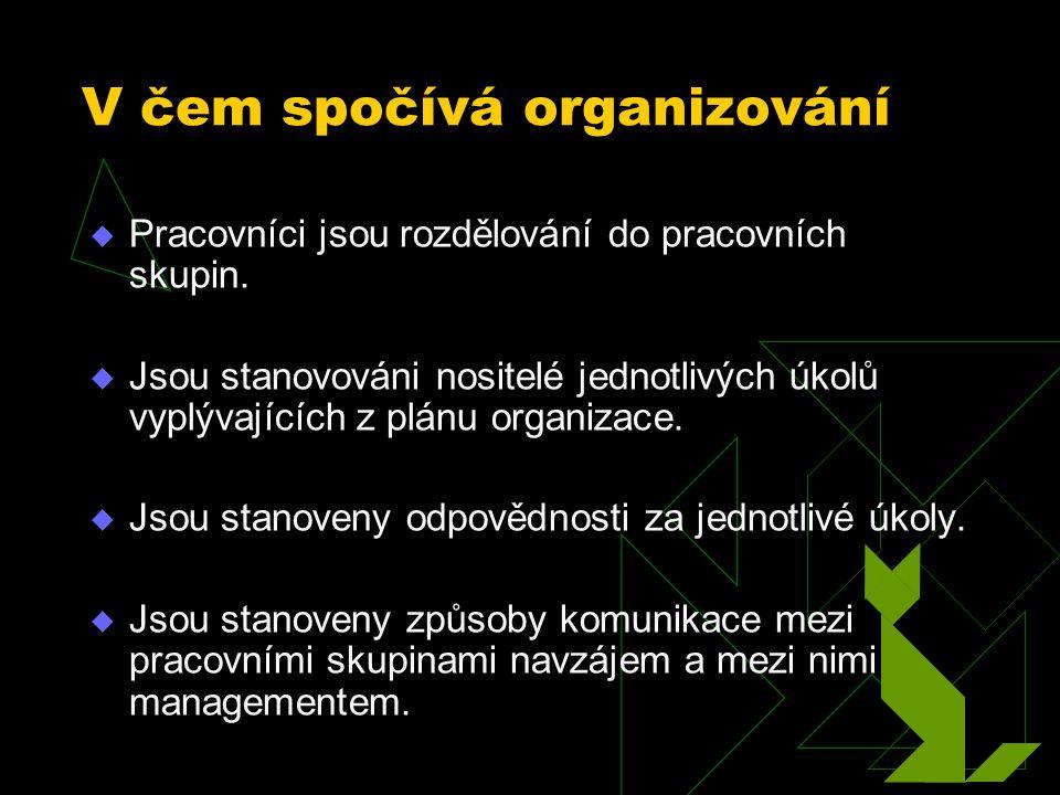  je dosahování koordinovaného úsilí prostřednictvím struktury, úkolů, lidí, autority a komunikace.