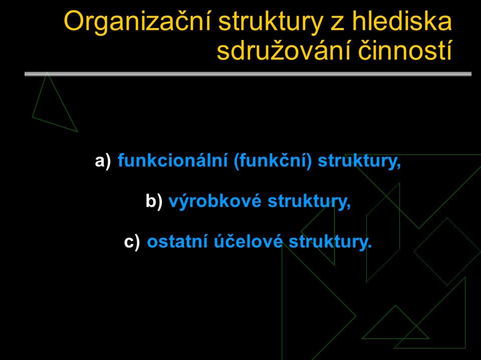 Klasifikace organizačních struktur Třídící hlediska a) podle sdružování činností, b) podle rozhodovací pravomoci a zodpovědnosti, c) podle míry delega