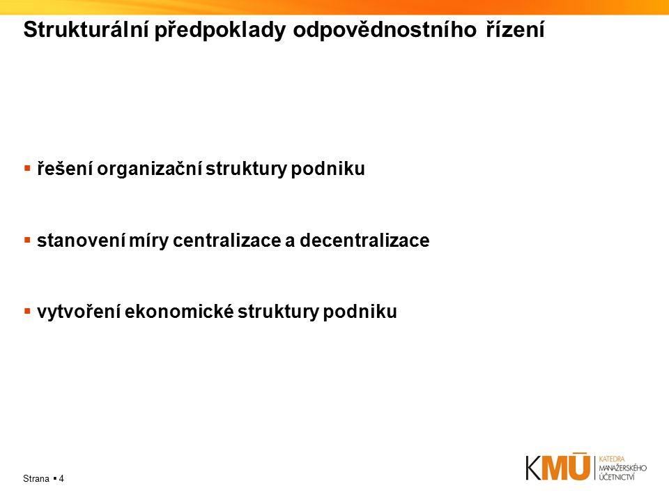 Strana  4 Strukturální předpoklady odpovědnostního řízení  řešení organizační struktury podniku  stanovení míry centralizace a decentralizace  vyt