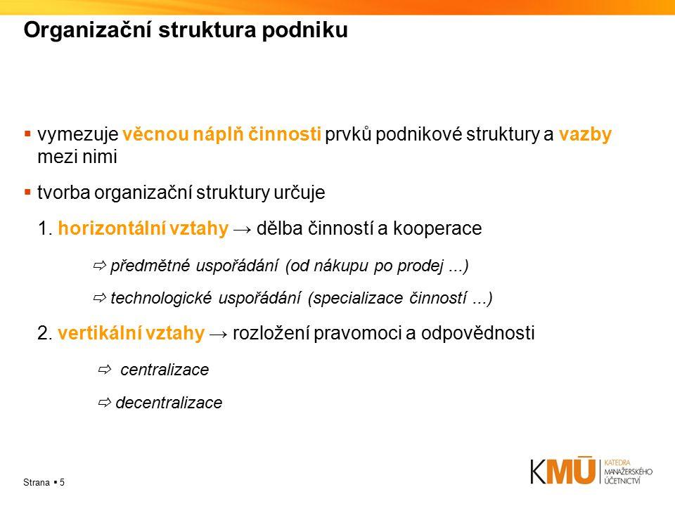 Strana  5 Organizační struktura podniku  vymezuje věcnou náplň činnosti prvků podnikové struktury a vazby mezi nimi  tvorba organizační struktury u