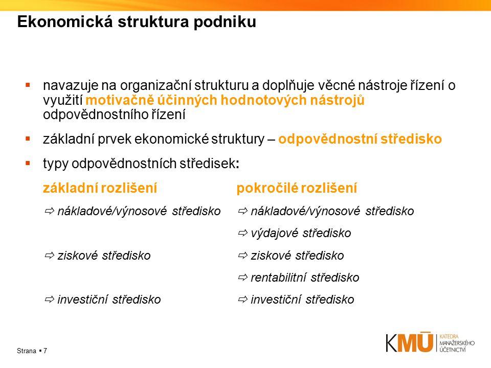 Strana  7 Ekonomická struktura podniku  navazuje na organizační strukturu a doplňuje věcné nástroje řízení o využití motivačně účinných hodnotových