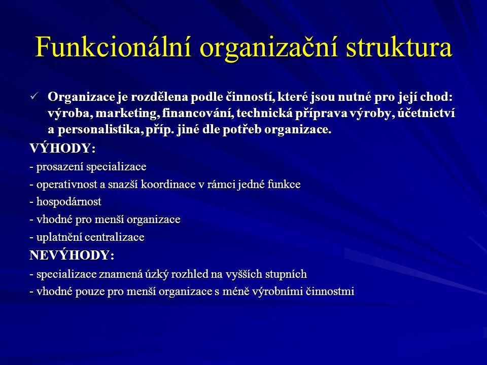 Funkcionální organizační struktura Organizace je rozdělena podle činností, které jsou nutné pro její chod: výroba, marketing, financování, technická p
