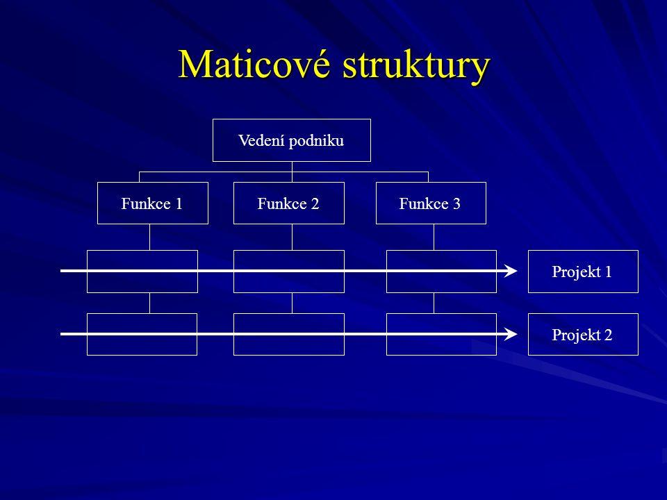 Maticové struktury Vedení podniku Projekt 2 Projekt 1 Funkce 3Funkce 2Funkce 1