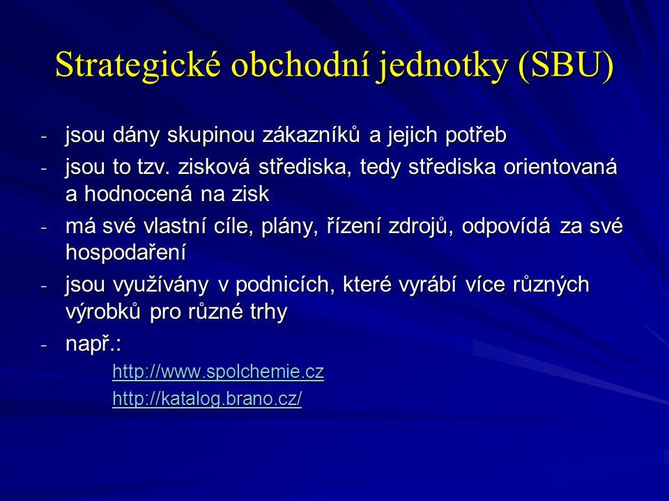 Strategické obchodní jednotky (SBU) - jsou dány skupinou zákazníků a jejich potřeb - jsou to tzv. zisková střediska, tedy střediska orientovaná a hodn