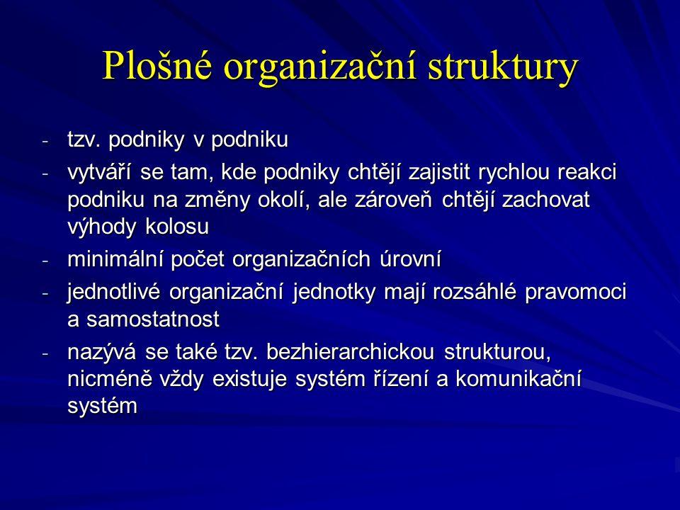 Plošné organizační struktury - tzv. podniky v podniku - vytváří se tam, kde podniky chtějí zajistit rychlou reakci podniku na změny okolí, ale zároveň