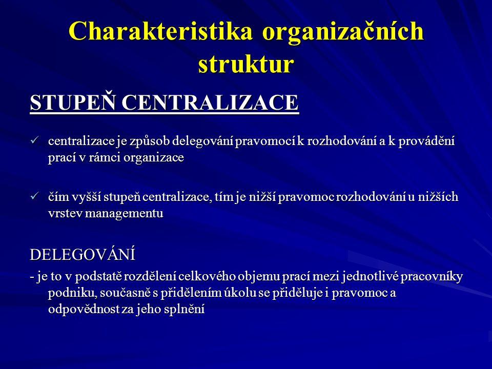 Charakteristika organizačních struktur STUPEŇ CENTRALIZACE centralizace je způsob delegování pravomocí k rozhodování a k provádění prací v rámci organ