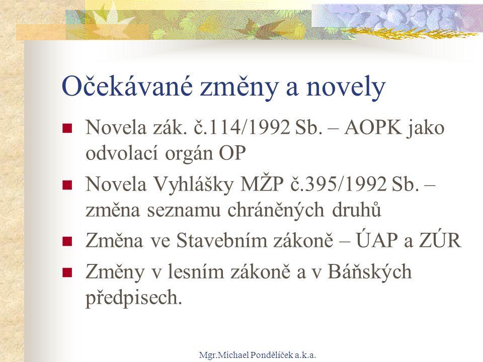 Mgr.Michael Pondělíček a.k.a. Očekávané změny a novely Novela zák. č.114/1992 Sb. – AOPK jako odvolací orgán OP Novela Vyhlášky MŽP č.395/1992 Sb. – z