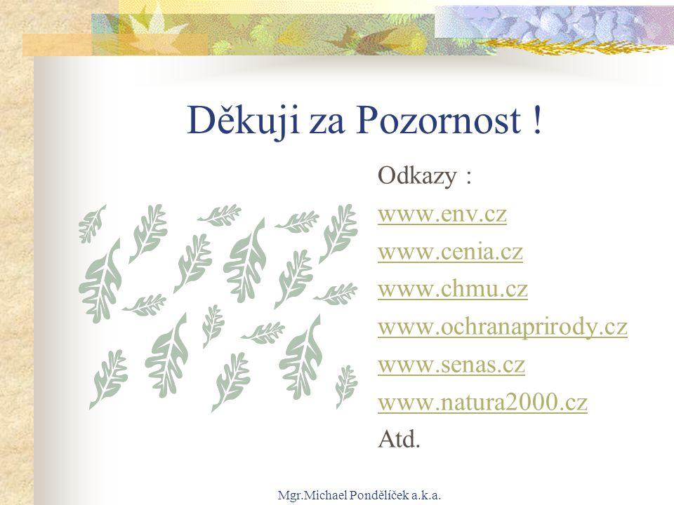 Mgr.Michael Pondělíček a.k.a. Děkuji za Pozornost ! Odkazy : www.env.cz www.cenia.cz www.chmu.cz www.ochranaprirody.cz www.senas.cz www.natura2000.cz