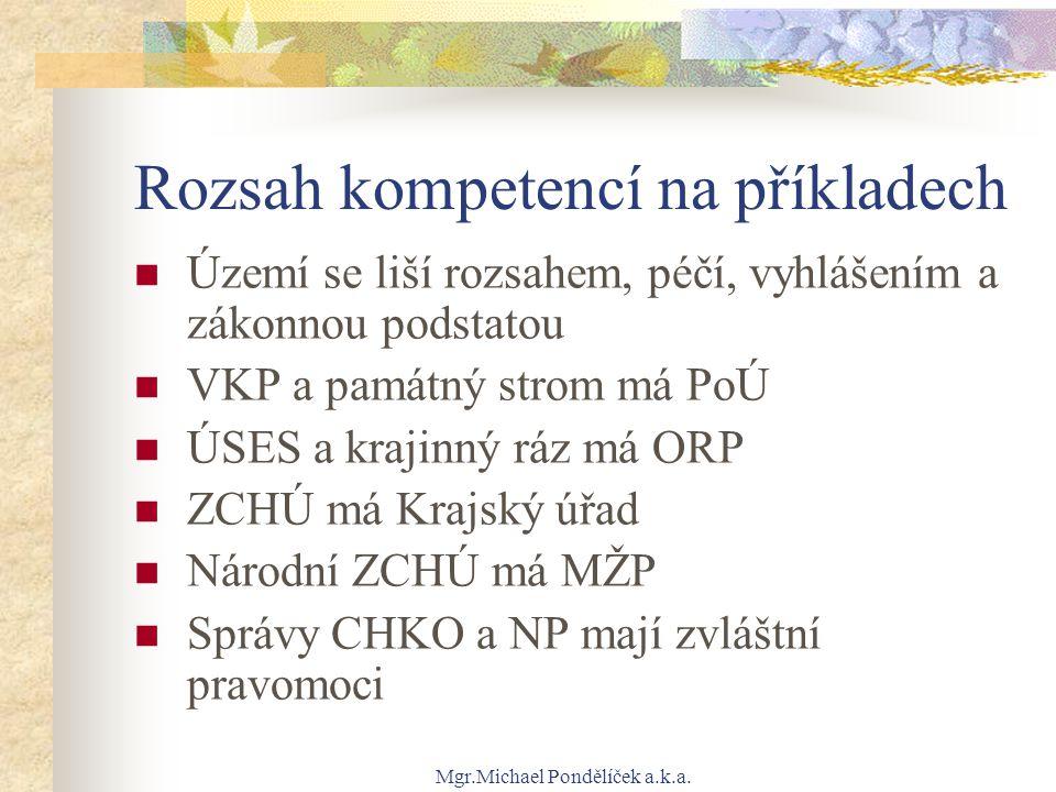 Mgr.Michael Pondělíček a.k.a. Rozsah kompetencí na příkladech Území se liší rozsahem, péčí, vyhlášením a zákonnou podstatou VKP a památný strom má PoÚ