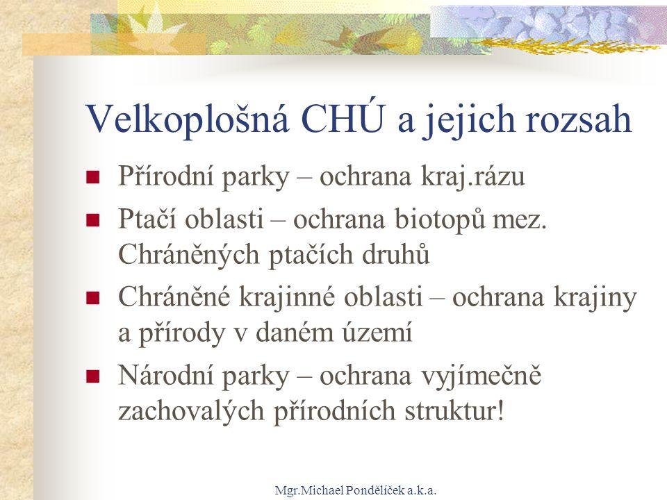 Mgr.Michael Pondělíček a.k.a. Velkoplošná CHÚ a jejich rozsah Přírodní parky – ochrana kraj.rázu Ptačí oblasti – ochrana biotopů mez. Chráněných ptačí