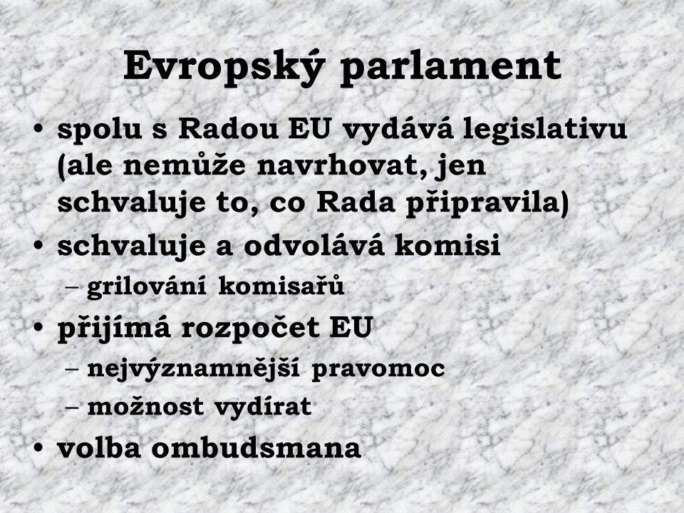 Evropský parlament spolu s Radou EU vydává legislativu (ale nemůže navrhovat, jen schvaluje to, co Rada připravila) schvaluje a odvolává komisi – grilování komisařů přijímá rozpočet EU – nejvýznamnější pravomoc – možnost vydírat volba ombudsmana
