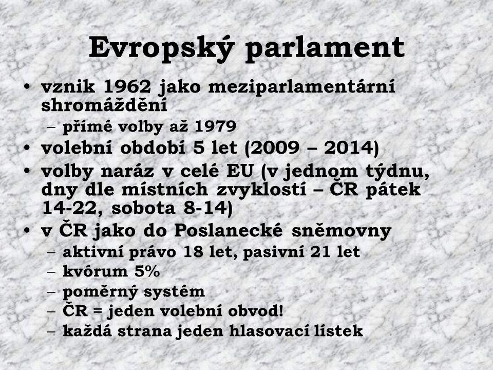 Evropský parlament vznik 1962 jako meziparlamentární shromáždění – přímé volby až 1979 volební období 5 let (2009 – 2014) volby naráz v celé EU (v jednom týdnu, dny dle místních zvyklostí – ČR pátek 14-22, sobota 8-14) v ČR jako do Poslanecké sněmovny – aktivní právo 18 let, pasivní 21 let – kvórum 5% – poměrný systém – ČR = jeden volební obvod.