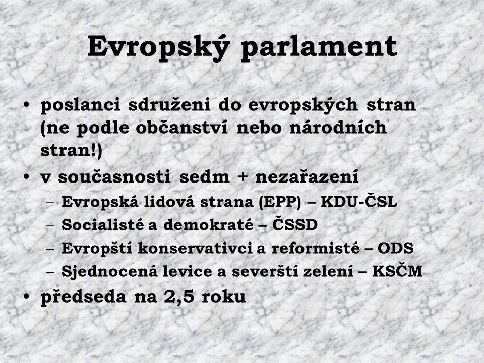 Evropský parlament poslanci sdruženi do evropských stran (ne podle občanství nebo národních stran!) v současnosti sedm + nezařazení – Evropská lidová strana (EPP) – KDU-ČSL – Socialisté a demokraté – ČSSD – Evropští konservativci a reformisté – ODS – Sjednocená levice a severští zelení – KSČM předseda na 2,5 roku