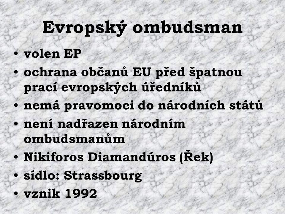 Evropský ombudsman volen EP ochrana občanů EU před špatnou prací evropských úředníků nemá pravomoci do národních států není nadřazen národním ombudsmanům Nikiforos Diamandúros (Řek) sídlo: Strassbourg vznik 1992