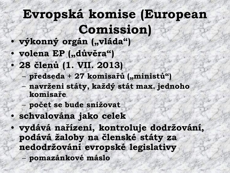 "Evropská komise (European Comission) výkonný orgán (""vláda ) volena EP (""důvěra ) 28 členů (1."