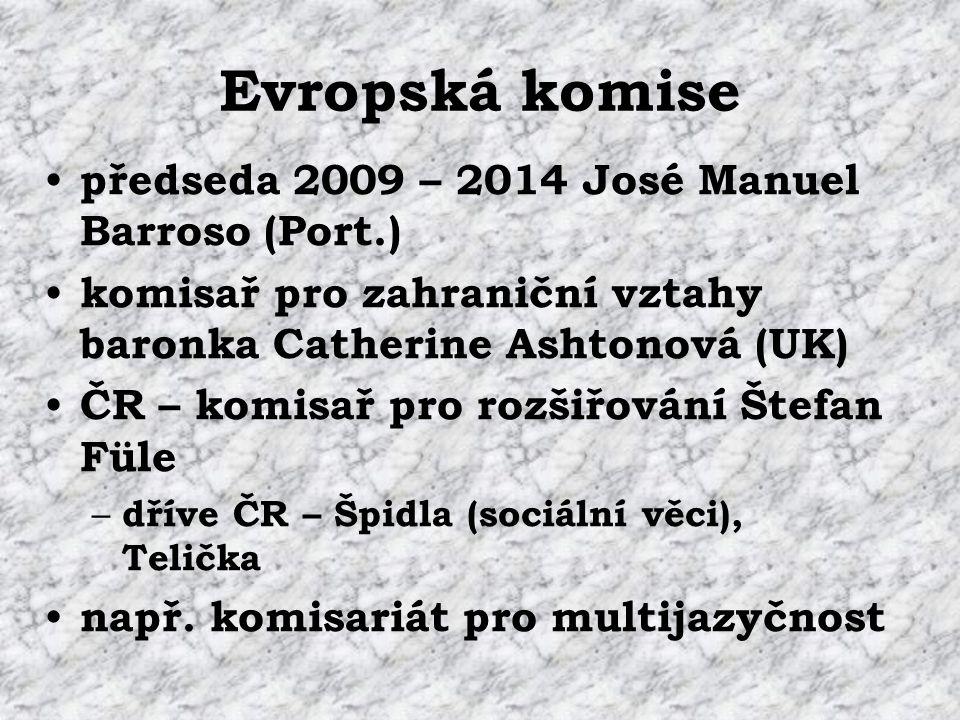 Evropská komise předseda 2009 – 2014 José Manuel Barroso (Port.) komisař pro zahraniční vztahy baronka Catherine Ashtonová (UK) ČR – komisař pro rozšiřování Štefan Füle – dříve ČR – Špidla (sociální věci), Telička např.