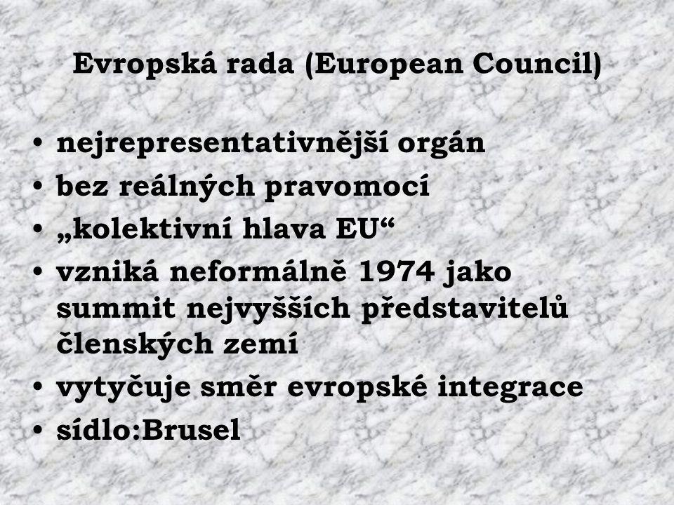 """Evropská rada (European Council) nejrepresentativnější orgán bez reálných pravomocí """"kolektivní hlava EU vzniká neformálně 1974 jako summit nejvyšších představitelů členských zemí vytyčuje směr evropské integrace sídlo:Brusel"""