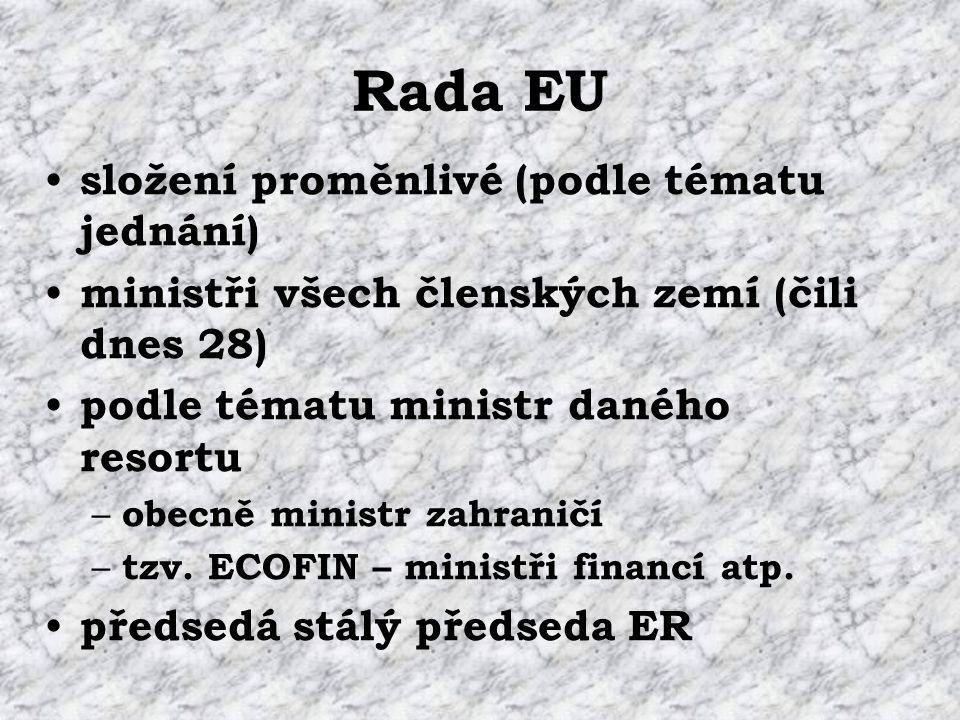 Rada EU rotující předsednictví na půl roku (I.– VI.; VII.