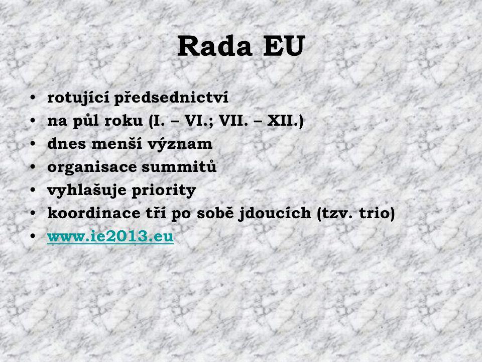 Rada EU rotující předsednictví na půl roku (I. – VI.; VII.