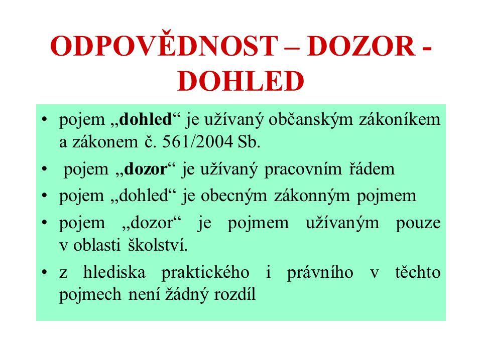 """ODPOVĚDNOST – DOZOR - DOHLED pojem """"dohled"""" je užívaný občanským zákoníkem a zákonem č. 561/2004 Sb. pojem """"dozor"""" je užívaný pracovním řádem pojem """"d"""